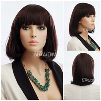 "Ali hot sell queen hair products 12"" short straight japanese kanekalon mujer peluca bob wigs for noble women"