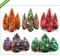 (5 set/lot) Mixed Color Sea Sediment Jasper/ Pyrite Teardrop pendant bead set