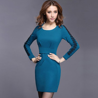 2013 autumn long-sleeve dress lace fashion elegant solid color slim autumn dress h622