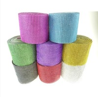 30feet 24Rows Diamond Mesh Rhinestone Ribbon Crystal trim Wrap cake banding For Wedding Decoration Party Decor wa040