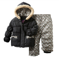 1sets free shipping Pink Platinum 2013 Winter suits Children Leopard grain Hoodies Cotton-padded clothes + girls Cotton trousers