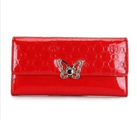 2013 Fashion women purse butterfly  long design two fold wallet women leather bag Free shipping