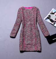 Fashion 2013 women's tweed fabric elegant slim waist long-sleeve dress one-piece dress y8168