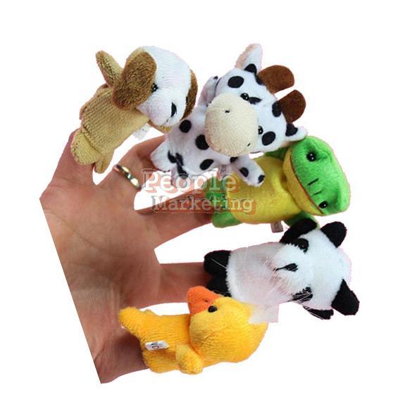 10x Cartoon Biological Animal Finger Puppet Plush Toys Child Baby Favor Dolls P4(China (Mainland))