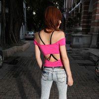 Ds sexy strapless big racerback slim basic t-shirt top 2013 women's