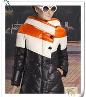 Winter women's 2012 slim formal color block decoration medium-long overcoat outerwear women's design long down coat