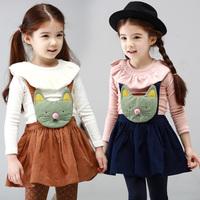 Female child autumn 2013 autumn child set long-sleeve suspenders short skirt twinset princess skirt autumn children's clothing