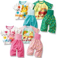 Children's clothing child at home service baby summer baby belly protection 100% cotton underwear set air conditioner sleepwear