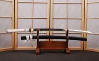 White Hilt Black Matte Saya Japanese Samurai Sword Full Tang NO Hamon Sharpened