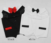 Large big Dog Wedding tuxedo vest with bowtie golden retriever formal party clothes black white