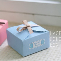 2013 Hot~Lovely Cake boxs 10pcs Packaging blue square cake box biscuit box West box mini