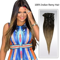 Free Shipping 18-30inch Ombre Clip In Hair Extensions star hair products popular hair bundle #2T#8
