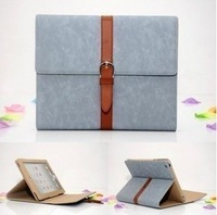 Freight rebate Button  for apple   ipad3 ipad2 holsteins protective case vintage fashion genuine leather ipad4 shell Retail