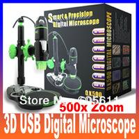 3D USB Smart & Predision Digital Microscope,Handheld Measuring Microscope USB Microscope Camera 500x Zoom,1600x1200 Resolution