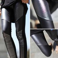 2013 autumn bling silveryarn pearlizing faux leather patchwork symmetrical ankle length legging elegant black