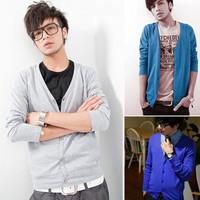 2012 men's clothing preppy style v-neck short sleeve T-shirt men's clothing long-sleeve sweater cardigan