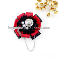 New 2013 Christmas Gift Fashion Jewelry Lovely Red Ribbon Lace Flower Brooch with Chain Wholesale