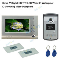 ID Unlocking Video Doorphone intercom system 7 inch Digital HD TFT-LCD Wired IR Waterproof Outdoor unit