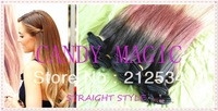 2013 hot sale 1b/#4/27# ombre color three 3 tone color straight virgin Brazilian human hair weft 3pcs/lot  free shipping