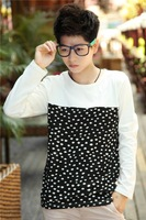 2013 lovers autumn slim t-shirt personality trend of the long-sleeve t-shirt polka dot top male