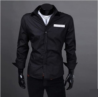 2013 NEW Men's Slim Luxury Stylish Dress Shirts,Fashionable Long-Sleeved Shirts Black/White/Blue M-XXL Free Ship W846