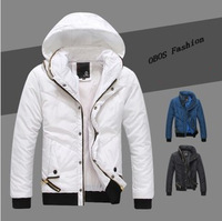 Free Shiping,2013 New Mens Warm jackets Men Parka/ Zipper,Hide Hooded collar padded warm coat,Asian size M~XXL 3 Colors W831