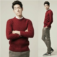 Solid color stereo knitted o-neck long-sleeve sweater male casual sweater yarn shirt