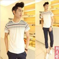 Summer 100% cotton small print slim o-neck short-sleeve T-shirt male short-sleeve T-shirt male t