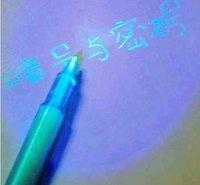 Free shipping 5pcs/lot , 2 in 1 INK Pens, Invisible UV Pen, secret pen, Wholesale .4 colors