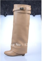Free shipping wholesale red bottom brown leather women over knee boots sexy zipper 12cm heel boots discount price ON SALE!
