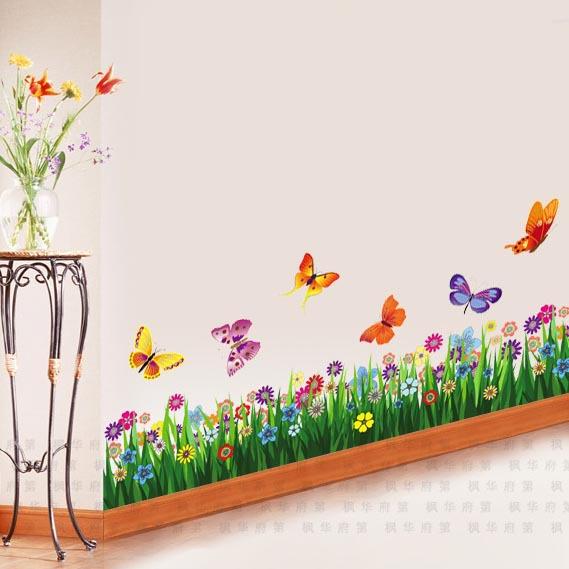 Large colorful butterflies grass wall sticker art mural decor wall stickers decals(China (Mainland))
