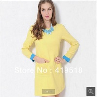 Vogue Of New Fund Of 2013 Autumn Winters Female's Dress Joker Big Yards Pure Color Long Sleeve Knit Dress Princess Dress