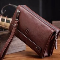 2013 High Quality Business Genuine Leather Handbag For Mens Leather Clutch Bag Iphone 4 Wallet Clutch For Male Day Clutches