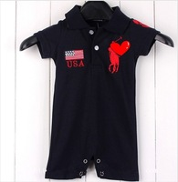 2 colors summer baby boys girls infant brand rompers toddlers cotton jumpsuit, 5pcs/lot