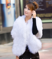 Free shipping 2013  Winter Warm New Fashion  Luxury Quality  ostrich cape women's wedding formal fur vest