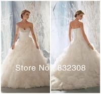 Free Shipping Hot Style Organza Ruffle Ball Wedding Gowns Custom Made Wedding Dresses