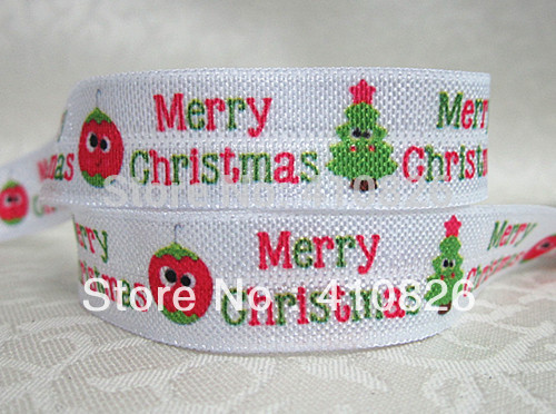 WM ribbon wholesale/OEM 5/8inch 928018 MERRY CHRISTMAS folded over elastic 50yds/roll FOE Webbing free shipping(China (Mainland))