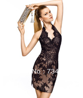 Sexy Sheath Halter Short Formal Evening Dresses Satin Tulle Fabric Black Lace Applique Knee Length Sleeveless Classy Vintage