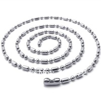 100pcs Fashion Silver Stainless Steel Chain Necklaces Thin Dog Tag Chain Ball and Oval Beads Chains 28inch Free Shipping