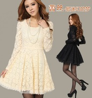 Free shipping 2013 New High Quality Fashion Round Neck Long-Sleeved Dresses Bow Women Openwork Lace Dress Tops Slim Black Beige