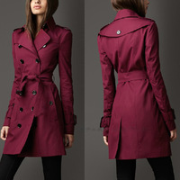 High Quality Autumn Fashion Coat Women Double Breasted Long design Wine Red Trench Ladies Slim Vintage Plus Size Outerwear