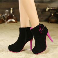 2013 sweet flower platform boots round toe high-heeled shoes boots princess