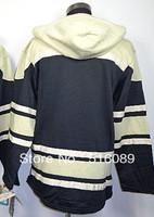 Wholesale! Free shipping Pittsburgh Penguins Blank Black Hooded Sweatshirt,Embroidery logo men's ice hockey jersey