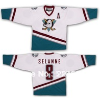 Wholesale Halloween costumes Teemu Selanne #8 The Mighty Ducks of Anaheim Ice Hockey Jerseys hockey shirt
