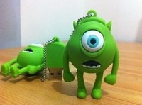 10pcs/lot Rubber USB flash drive, 1GB/2GB/4GB/8GB/16GB 3D Mini Mike Wazowski USB Flash Drive from MONSTER INC Funny Memory Stick