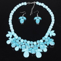 Statement crystal beads Necklace earring jewelry sets blue pink exaggerate flower choker necklace fluorescent free shipping