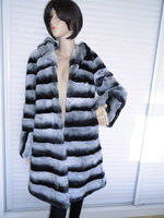 FS806203 Real  Rex Rabbit Fur Coat Jacket Garment Shawl Chinchilla Color with Hood  Top X- Long Plus Size Wholesale Retail OEM