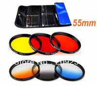 Free shipping 55mm Graduated Orange Blue Gray filter set+Yellow + Orange+Red Color Lens  filter Kit +free Filter bag