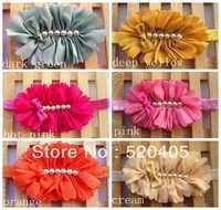HOT Hair Accessories Big Chiffon Flower with six pearl headwear for baby girls women flower with Mini bow plastic headband 12PCS