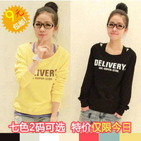Spring and Autumn 2013 new women's large size loose wild bottoming shirt long sleeve t-shirt shirt female Korean student